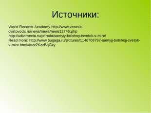 Источники: World Records Academy http://www.vestnik-cvetovoda.ru/news/news/ne
