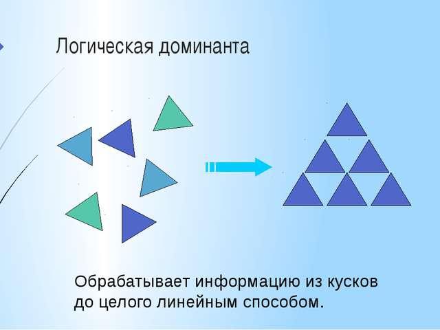 Логическая доминанта Обрабатывает информацию из кусков до целого линейным спо...