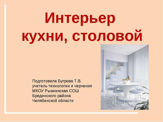 Интерьер кухни, столовой Подготовила Бугрова Т.В. учитель технологии и черчен...