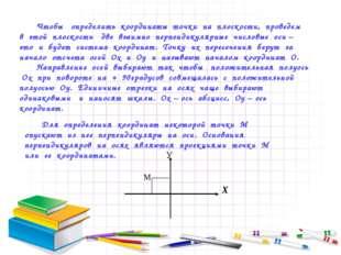 Чтобы определить координаты точки на плоскости, проведем в этой плоскости две