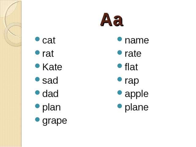 Aa cat rat Kate sad dad plan grape name rate flat rap apple plane
