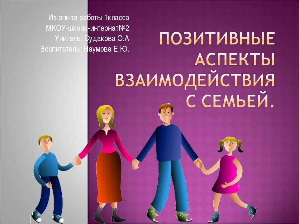 Из опыта работы 1класса МКОУ-школа-интернат№2 Учитель: Судакова О.А Воспитате...