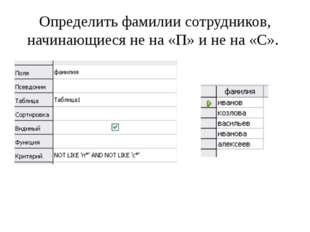 Определить фамилии сотрудников, начинающиеся не на «П» и не на «С».
