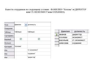 """Вывести сотрудников по следующему условию ФАМИЛИЯ=""""Козлова"""" и (ДИРЕКТОР или С"""