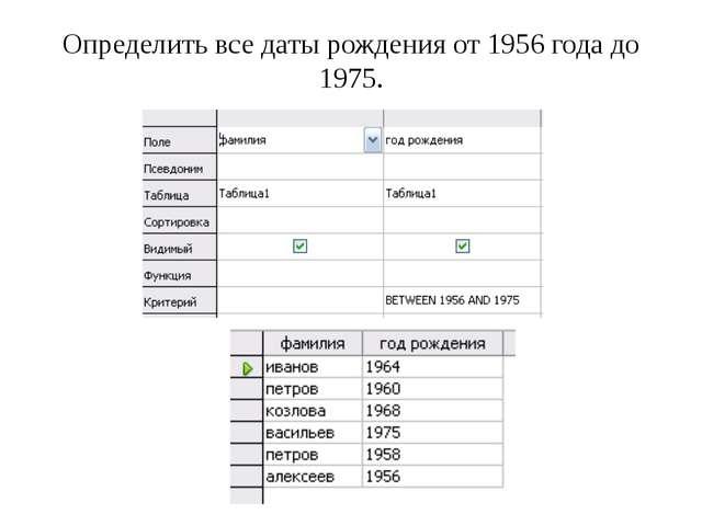 Определить все даты рождения от 1956 года до 1975.