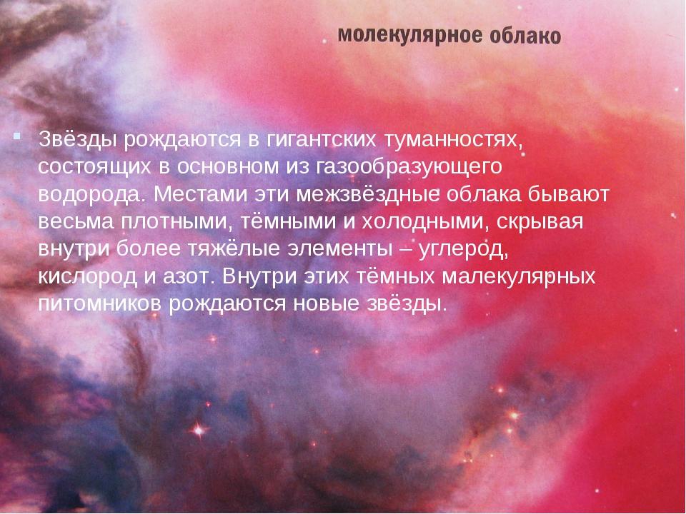 Звёзды рождаются в гигантских туманностях, состоящих в основном из газообразу...