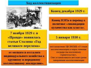 Ход коллективизации 7 ноября 1929 г. в «Правде» появилась статья Сталина «Год