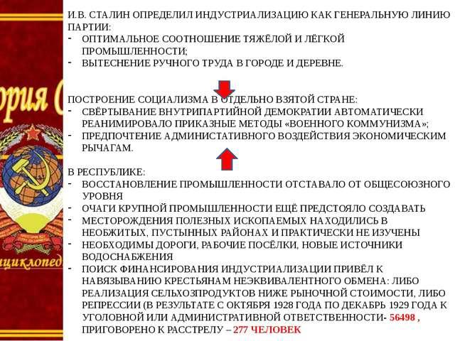 И.В. СТАЛИН ОПРЕДЕЛИЛ ИНДУСТРИАЛИЗАЦИЮ КАК ГЕНЕРАЛЬНУЮ ЛИНИЮ ПАРТИИ: ОПТИМАЛЬ...