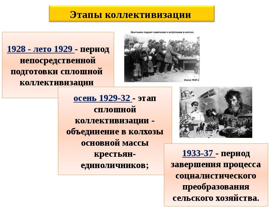 1928 - лето 1929 - период непосредственной подготовки сплошной коллективизаци...
