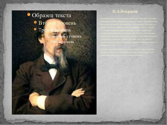 Русский писатель: поэт, прозаик, драматург. Николай Алексеевич Некрасов родил...