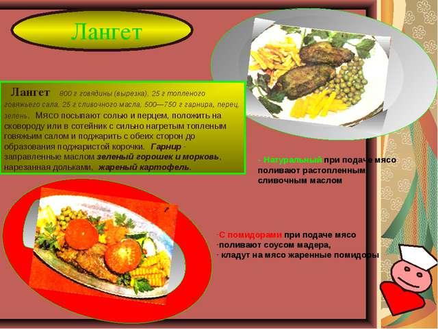 Лангет - Натуральный при подаче мясо поливают растопленным сливочным маслом Л...