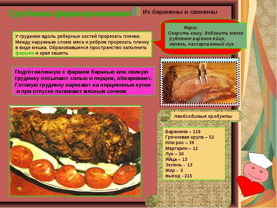 Грудинка фаршированная Подготовленную с фаршем баранью или свиную грудинку по...