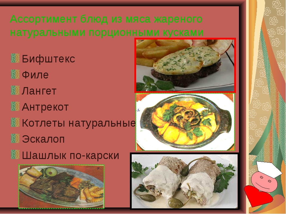 Ассортимент блюд из мяса жареного натуральными порционными кусками Бифштекс Ф...