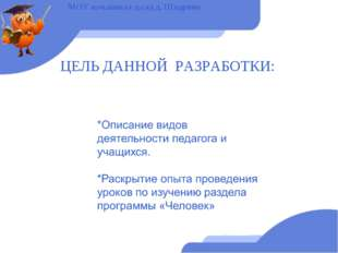 ЦЕЛЬ ДАННОЙ РАЗРАБОТКИ: МОУ нач.школа-д.сад д. Шадрино
