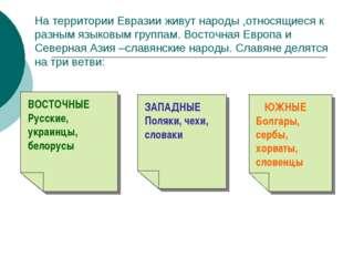 На территории Евразии живут народы ,относящиеся к разным языковым группам. Во