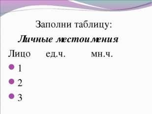 Заполни таблицу: Личные местоимения Лицо ед.ч. мн.ч. 1 2 3