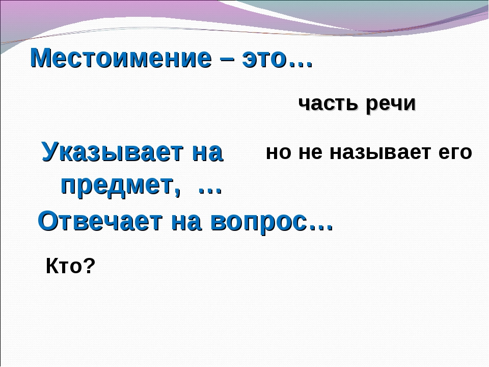 Местоимение – это… Указывает на предмет, … Отвечает на вопрос… часть речи но...