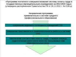 Направления программы применительно к системе среднего профессионального обра