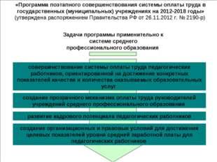 Задачи программы применительно к системе среднего профессионального образован