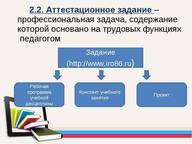 2.2. Аттестационное задание – профессиональная задача, содержание которой о...