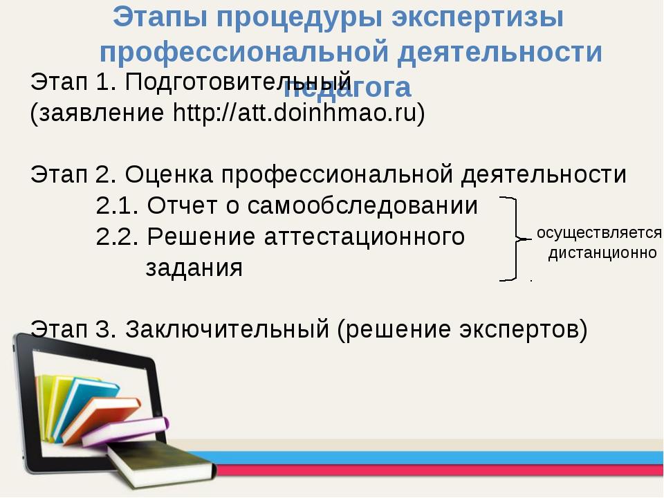 Этапы процедуры экспертизы профессиональной деятельности педагога Этап 1. Под...