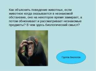 Как объяснить поведение животных, если животное когда оказывается в незнакомо