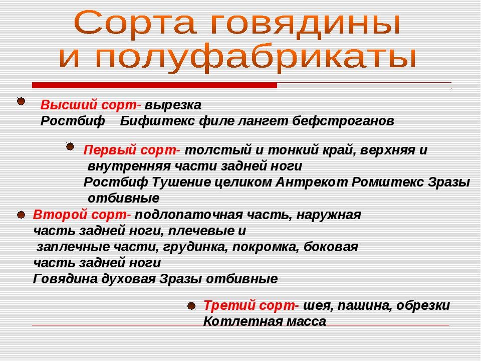 Высший сорт- вырезка Ростбиф Бифштекс филе лангет бефстроганов Первый сорт- т...