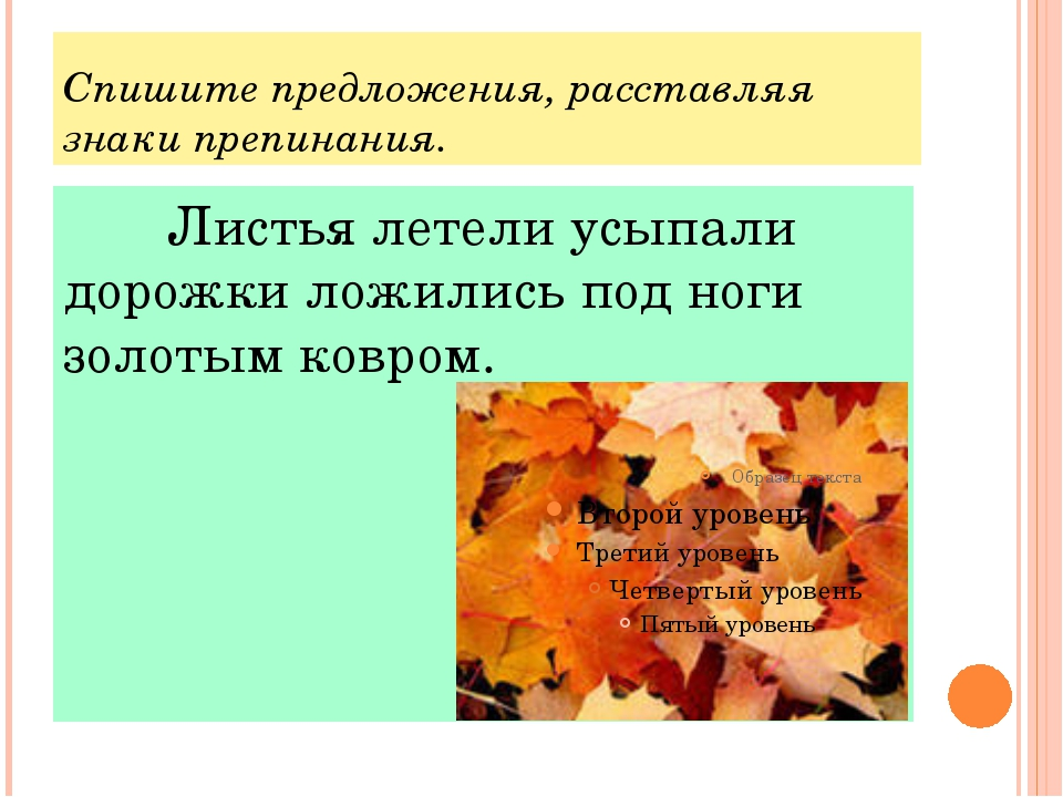 Спишите предложения, расставляя знаки препинания. Листья летели усыпали дор...