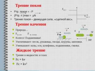 Трение покоя Fтр. покоя = - F (Fтр. п )max = µN Трение покоя – движущая сила,