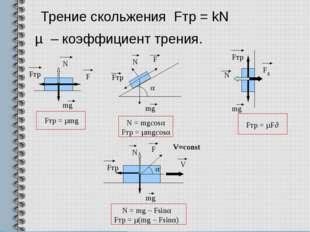 Трение скольжения Fтр = kN µ – коэффициент трения. Fтр N mg F Fтр = µF∂ N = m