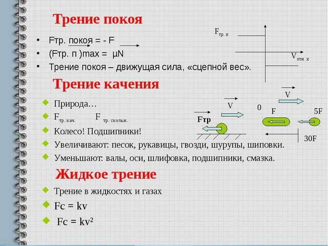 Трение покоя Fтр. покоя = - F (Fтр. п )max = µN Трение покоя – движущая сила,...