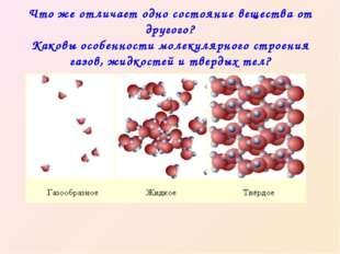 Что же отличает одно состояние вещества от другого? Каковы особенности молек