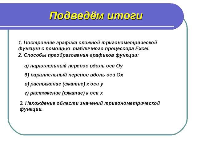 1. Построение графика сложной тригонометрической функции с помощью табличного...