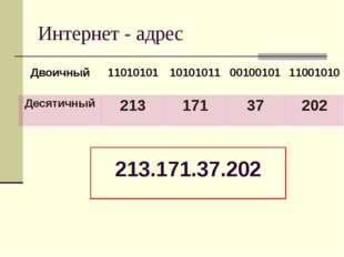 Интернет - адрес 213.171.37.202 Двоичный 11010101 10101011 00100101 11001010