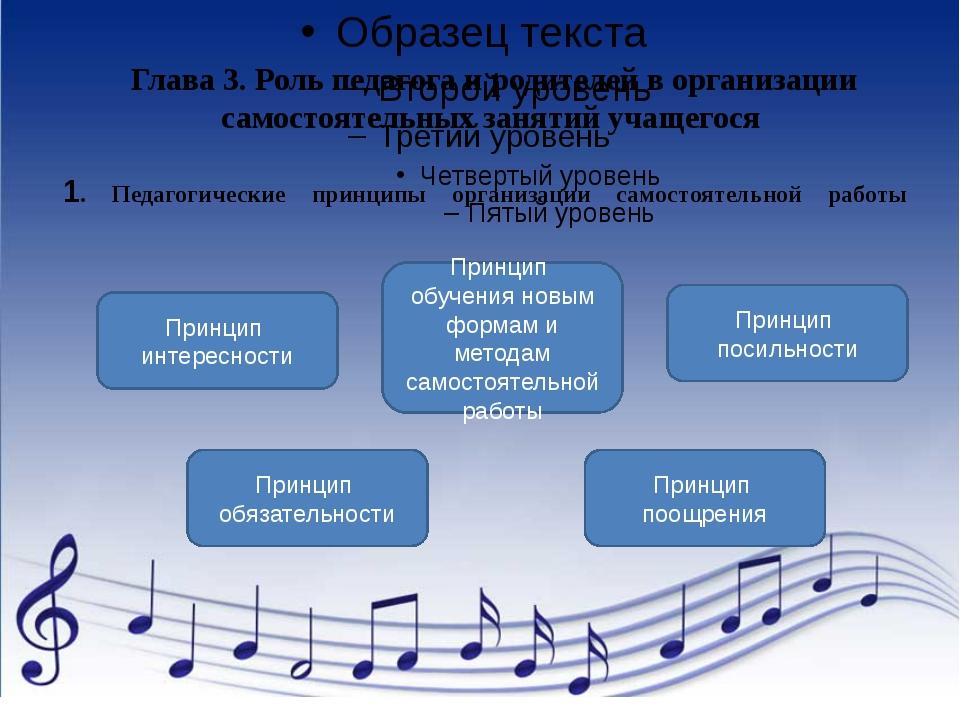 1. Педагогические принципы организации самостоятельной работы Глава 3. Роль п...