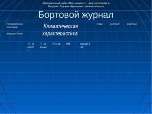 Бортовой журнал Образовательный портал «Мой университет» - www.moi-universite