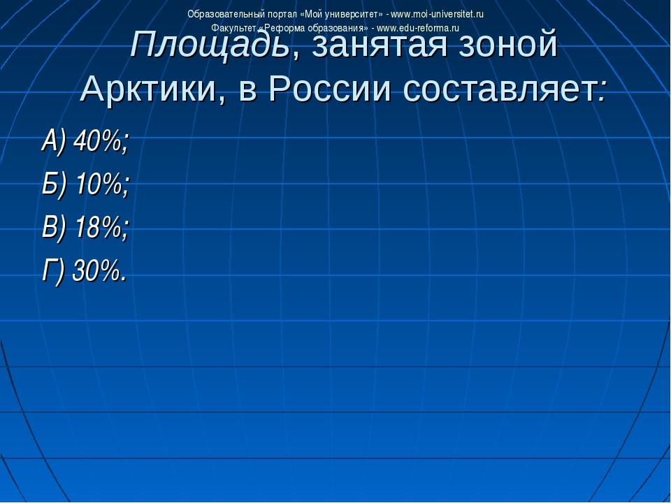 Площадь, занятая зоной Арктики, в России составляет: А) 40%; Б) 10%; В) 18%;...