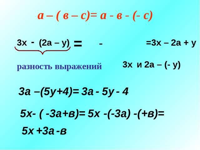 3х - (2а – у) 3х и 2а – (- у) разность выражений = а – ( в – с)= а - в - (- с...