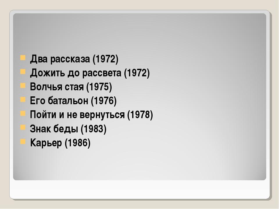 Два рассказа (1972) Дожить до рассвета (1972) Волчья стая (1975) Его батальон...