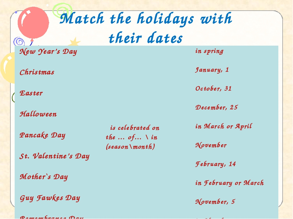 Match the holidays with their dates New Year's Day   Christmas   Easter   Hal...