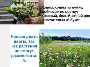 Ходим, ходим по лужку, Собираем по цветку: Красный, белый, синий цвет… Замеча