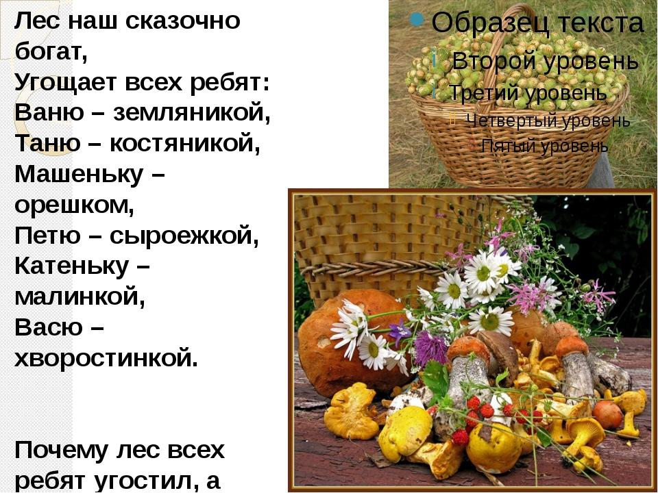 Лес наш сказочно богат, Угощает всех ребят: Ваню – земляникой, Таню – костяни...