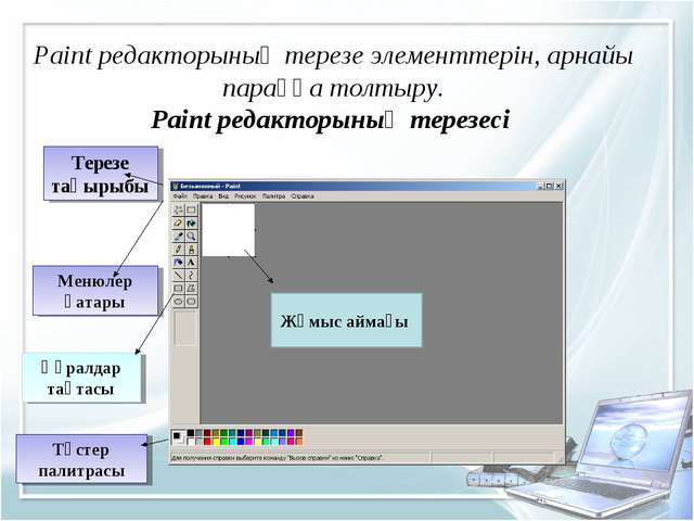Paint редакторының терезе элементтерін, арнайы параққа толтыру. Paint редакт...