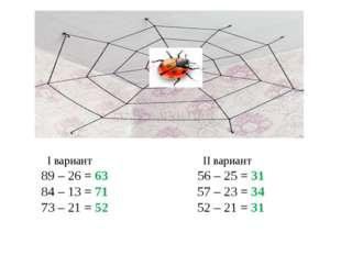 І вариант ІІ вариант 89 – 26 = 63 56 – 25 = 31 84 – 13 = 71 57 – 23 = 34 73