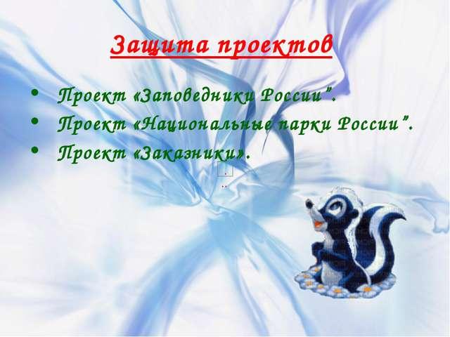 """Защита проектов Проект «Заповедники России"""". Проект «Национальные парки Росси..."""