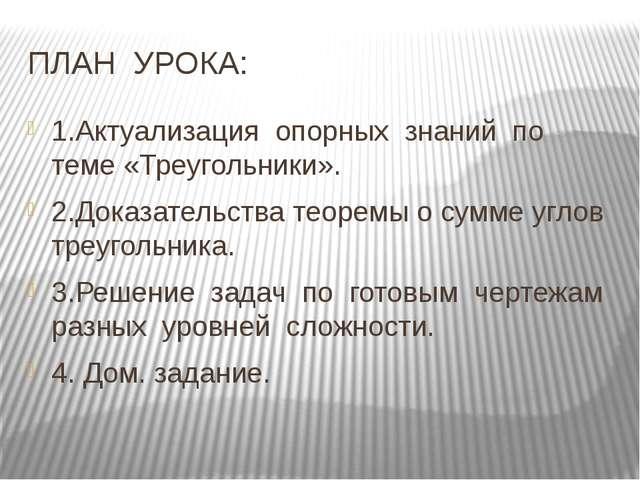 ПЛАН УРОКА: 1.Актуализация опорных знаний по теме «Треугольники». 2.Доказател...