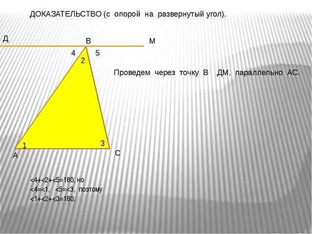 ДОКАЗАТЕЛЬСТВО (с опорой на развернутый угол). А С В Д М Проведем через точку...