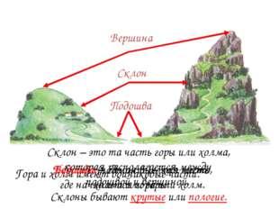 Гора и холм имеют одинаковые части. Подошва Подошва (подножие) – это место, г