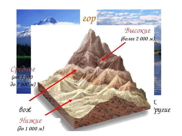 Различие гор по высоте. Высота гор бывает разной. Одни из них возвышаются на...