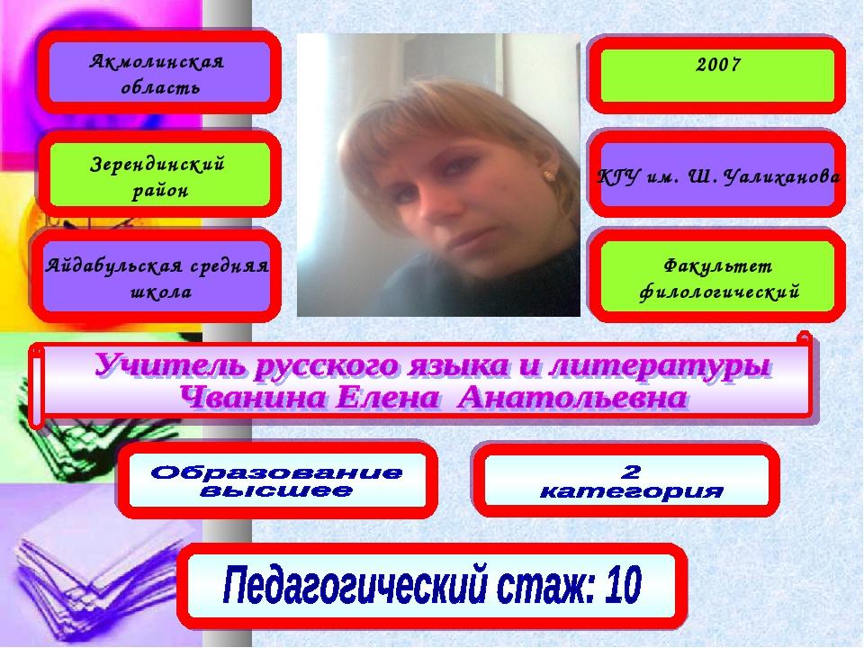 Акмолинская область Зерендинский район Айдабульская средняя школа 2007 КГУ им...